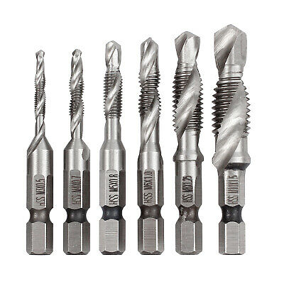 "1/4"" 6pcs/set HSS Hexagon Hex Metric HSS Drill Bit Tap Countersink Screw Thread"