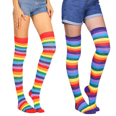 Ladies Over the Knee Socks Thigh High Striped Stripey Colours Casual