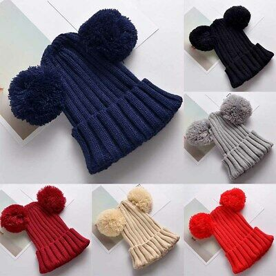Children's Cap Winter Warm Hat for Girls Boys Baby Casual Caps Ball Knitted New