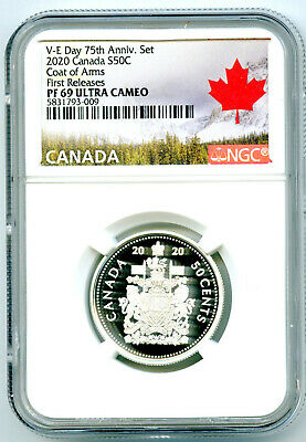 2020 Canada 50 Cent .9999 Silver Proof Half Dollar Ngc Pf69 Ucam First Releases