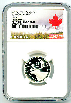 2020 Canada 25 Cent .9999 Silver Proof Quarter Ngc Pf69 Ucam First Releases