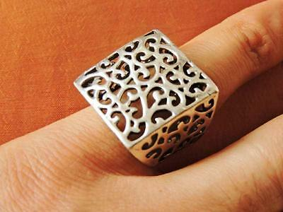 Antique Egyptian Vintage Rectangular Silver 925 Arabic/Persion Ring Band STAMPED