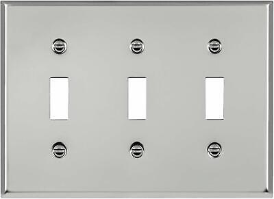 ENERLITES Toggle Light Switch Metal Wall Plate, Corrosive Resistant, Size 3-Gang