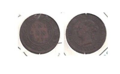 1876 Canada Queen Victoria Large Cent in Very Fine Condition ~