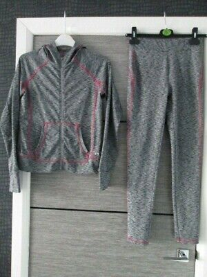 Girls Matalan Souluxe Grey Stretch Hooded Tracksuit Age 12-13 Yrs Vgc