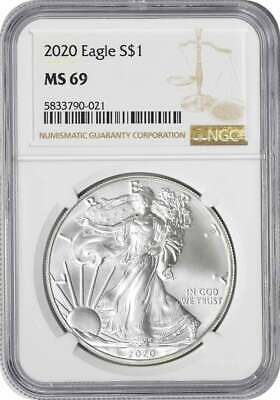 2020 American Silver Eagle Dollar MS69 NGC