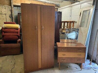 Vintage Mid Century Teak Wardrobe & Dressing Table Chest Drawers Mirror Bedroom