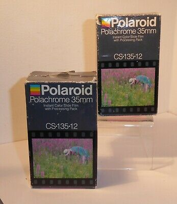 1 Polaroid Polachrome 35mm CS-135-12 Vintage Film & 2 Processing Packs, Aug 1986