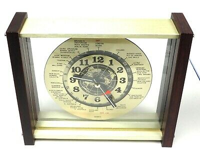 "24 Hour Plastic World Time Desk / Wall Clock Gmt Zulu Ham 9"" Square"