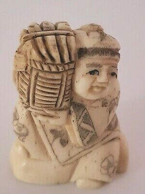Man  With  Large  Basket  Hand Carved  2 Inch   Netsuke 1361