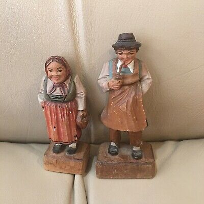 Vintage Small CARVED WOOD Old Man Woman FIGURINES German Folk Art Couple