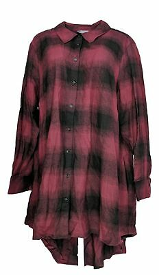 Lisa Rinna Collection Women's Plus Sz Top 2X Plaid Button Front Red A366021