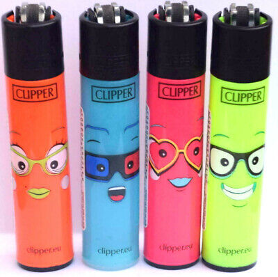 4 x Clipper Lighters FACES Number 6 SET Gas Lighter RARE Refillable NEW*