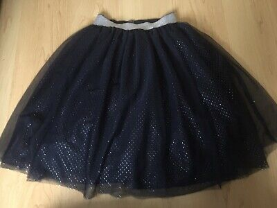 NEXT Girls Navy Sparkly Frill Net Skirt. Age 9 - 10 Years