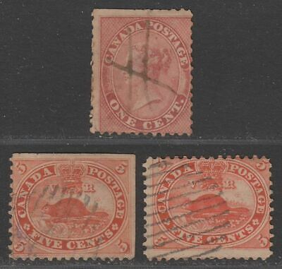 Colony of Canada 1859 Queen Victoria 1c, Beaver 5c x 2 Used with issues