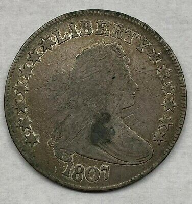 1807 US 50c Draped Bust Half Dollar Scratched