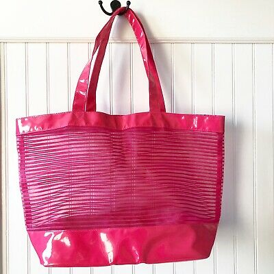 Nordstrom Hot Pink Mesh Striped Large Beach Shopper Travel Tote Bag Reusable