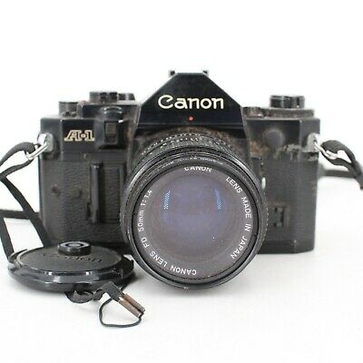 Canon A-1 35mm Film Camera with FD 50mm 1:1.4 Lens - FOR PARTS/REPAIR