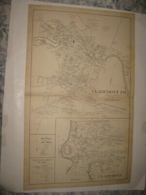 Antique 1892 Claremont Quaker City Plainfield Sunapee New Hampshire Map Rare Nr