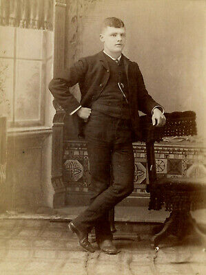 Antique Photo Cabinet Card HANDSOME YOUNG MAN FASHION by MOSER & BROWN LIMA OHIO