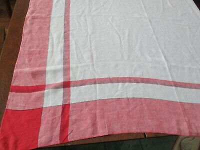 """52"""" Square Vintage Light Cotton Tablecloth Red White Bands Plaid"""