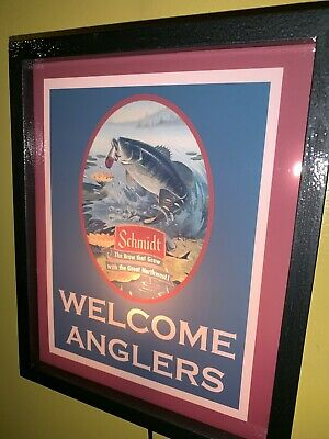Schmidt Fishing Anglers Beer Bar Tavern Man Cave Lighted Advertising Sign