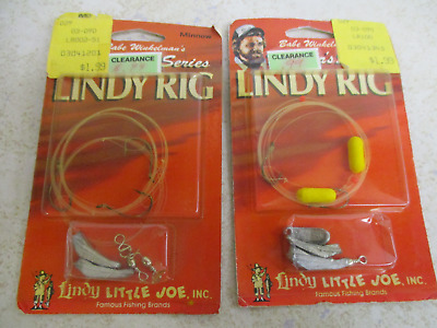 Vintage New Lindy Yellow Float Minnow Scent Hook Floating Fishing Rig #LW091