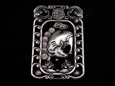 Tibetan Silver Highly Detail Crafted Pendant Zodiac Ox w/ Bats Blessing FU