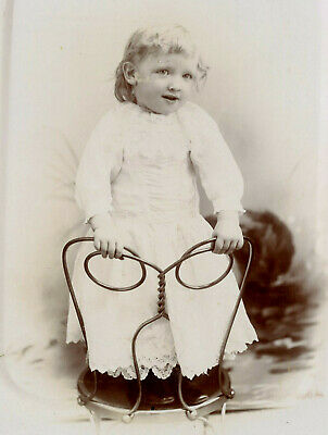 Antique Photo Cabinet Card LITTLE GIRL FASHION by WESTERBERGS EAST ROCKFORD ILL