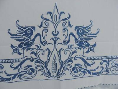 Lovely Vintage Hand Embroidered Tablecloth~Blue Willow Style~72 X 58