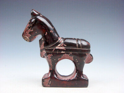 Old Nephrite Jade Stone Carved Sculpture Standing War Horse #09081906R