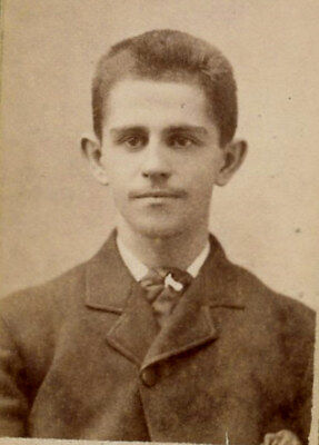 Antique Photo Mini Cabinet Card HANDSOME YOUNG MAN FASHION UTICA N Y