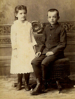 Antique Photo Cabinet Card HANDSOME YOUNG BOY GIRL FASHION PATTERSON MACOMB ILL