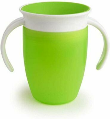 Munchkin Miracle 360 Trainer Cup Green 207ml Handles for Toddler Baby Feeding
