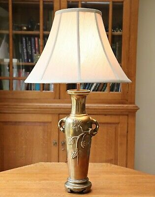 Large antique oriental solid brass dormouse table lamp on stand / new shade