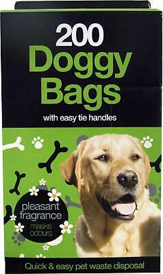 Doggy Poo Bags Easy Tie Handles - Packs of 10/100/200 - Puppy Dog Waste Poop