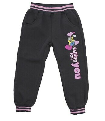 Minions Girls Kids Tracksuit Bottoms Jogging Pants Despicable Me, Grey, 4 Years
