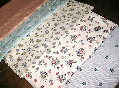 Lot 5 UNUSED Vintage Quilt Quilting Weight Cotton Fabric 1.5 lbs Floral Striped
