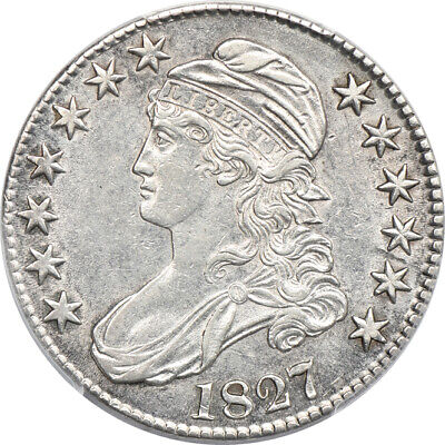 1827 Square Base 2 Capped Bust Half Dollar AU 53, PCGS 50c C00048960