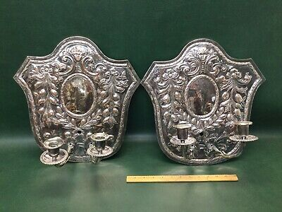 Pair of Antique Silverplate Double Arm Wall Sconces Candle Holders