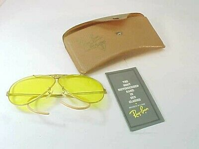 Great Vintage Ray Ban B&LYellow Lens Shooting Glasses Aviator Style Gold Filled
