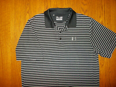 Under Armour Heat Gear Black Striped Polo Shirt Mens Large Excellent Condition