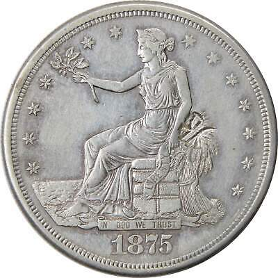 1875 S $1 Trade Silver Dollar Coin AU About Uncirculated Details Chop Marks