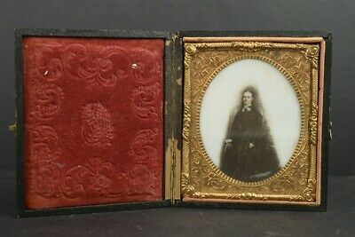 Opalotype Photograph 1/6th Plate Portrait Young Girl in w/ Leather Case Antique