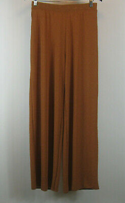 Zara Wide Leg Crinkle Gauze Pants Brown M Medium Women's Pull-on
