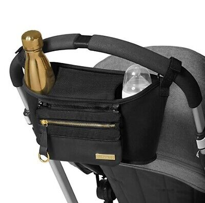 Skip Hop Grab & Go Luxe Black Stroller Organizer with Cup Holders NEW