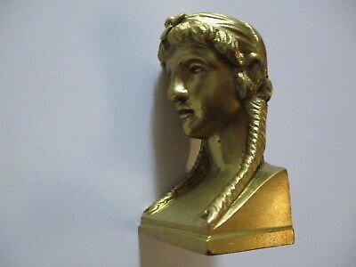 Vintage Antique Brass Yellow Bronze Metal Face Head Icon Finial Sculpture Statue