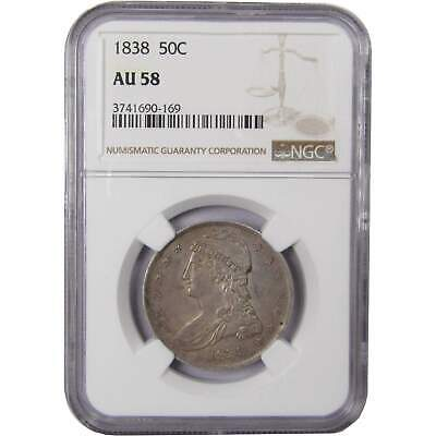 1838 50c Capped Bust Silver Half Dollar Coin AU 58 NGC