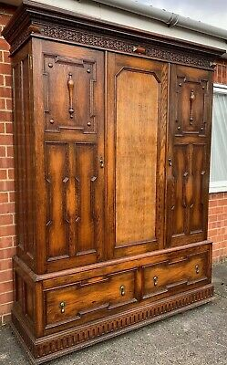 Gothic Large oak Triple cupboard Armoire Wardrobe