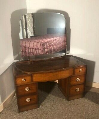 LOVELY 1930'S ART DECO WALNUT DRESSING TABLE Vintage Antique Mid Century